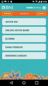 screenshot of BNI Mobile Banking version 2.2.4