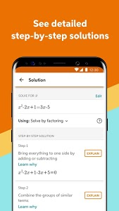screenshot of Chegg Math Solver - guided math problem solver version 1.17.1