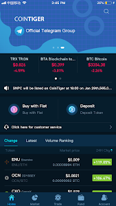 screenshot of CoinTiger-multi-cryptocurrency exchange version 4.6.6