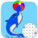 Dolphin Coloring Color By Number:PixelArt