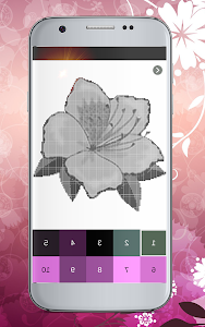 screenshot of Draw Flower in Pixel art coloring by Number version 4