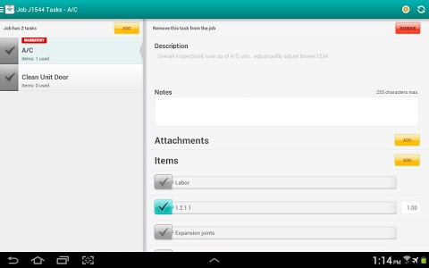 screenshot of FieldAware Mobile version Varies with device