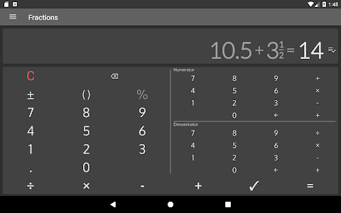 screenshot of Fractions Calculator - detailed solution available version 2.15