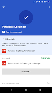screenshot of Google Classroom version 4.5.212.06.30