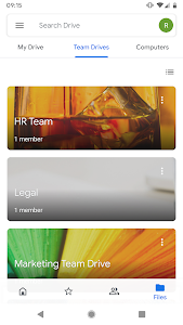 screenshot of Google Drive version Varies with device