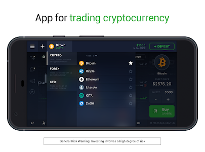 screenshot of IQ Option broker: trade forex, CFD's, bitcoin version 5.0.0
