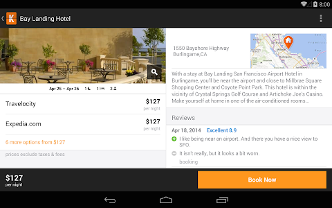 screenshot of KAYAK Flights, Hotels & Cars version 11.2