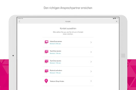 screenshot of MagentaSERVICE version Varies with device