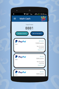 screenshot of Math Cash - Solve and Earn Rewards version 1.98