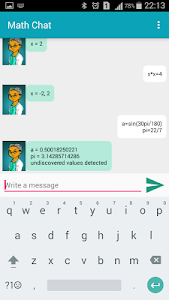 screenshot of Math Chat version 1.0.9