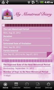 screenshot of My Menstrual Diary version 3.4.0