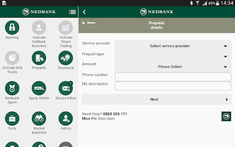 screenshot of Nedbank South Africa version Varies with device