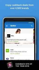screenshot of Quidco - Cashback, Discounts & Voucher Codes version 4.7.0