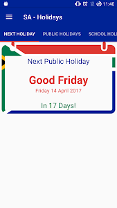 screenshot of SA - Holidays (Public+School) version 2.6.0