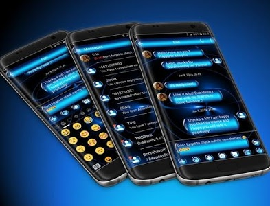 screenshot of SMS Messages Spheres Blue Theme version 8.0
