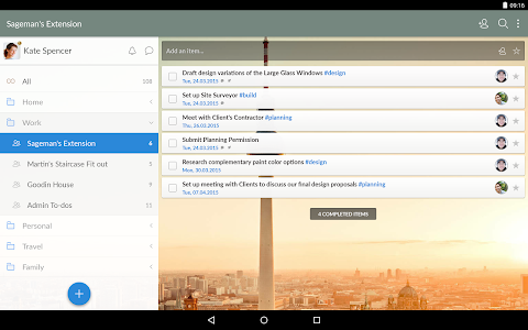 screenshot of Wunderlist: To-Do List & Tasks version 3.3.4