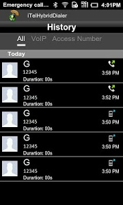 screenshot of iTelHybridDialer version 3.7.4